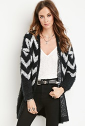 Forever 21 Chevron Patterned Fuzzy Cardigan Black White