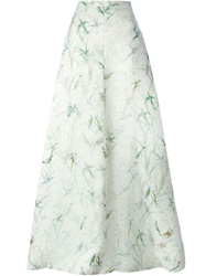 Rochas Printed Long Skirt White