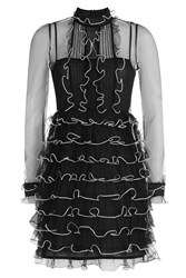 Red Valentino Sheer Panel Dress With Ruffle Trim Black