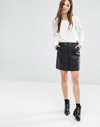 Warehouse Leather Look Button Skirt Black