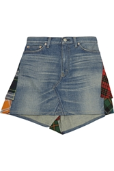 Junya Watanabe Patchwork Denim And Plaid Wool Mini Skirt