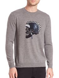 Markus Lupfer Merino Wool Intarsia Knitted Skull Sweater Grey
