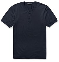 Dolce And Gabbana Cotton Jersey Henley T Shirt Blue