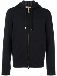 Burberry Logo Embroidered Zipped Hoodie Black