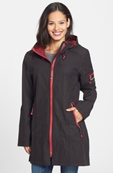 Ilse Jacobsen Hornbaek 'Rain 7' Hooded Waterproof Coat Black Wine
