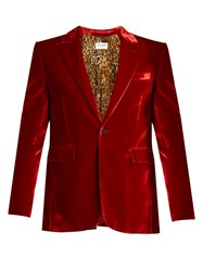 Saint Laurent Peak Lapel Single Breasted Velvet Blazer Red