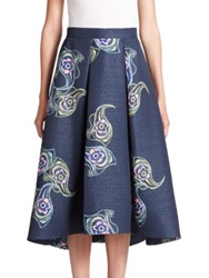 Phoebe Couture Printed Jacquard Skirt Navy Multi