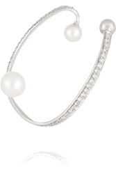Lynn Ban Ellipse Sterling Silver Pearl And Diamond Ear Cuff
