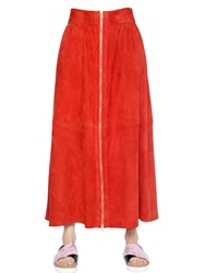 Simonetta Ravizza Zip Up Suede Maxi Skirt Red