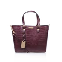 Carvela Kurt Geiger Dina Croc Winged Tote Wine