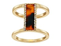 Guess Framed Bar Ring On Double Band Gold Crystal Tortoise Ring
