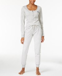Tommy Hilfiger Thermal Henley Top And Pants Pajama Set Grey White Stripe