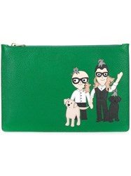 Dolce And Gabbana Designers Patch Zip Clutch Green