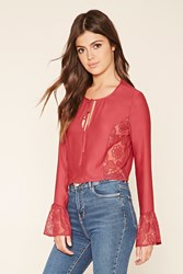 Forever 21 Embroidered Sheer Top