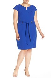 Plus Size Women's Ellen Tracy Belted Cap Sleeve Sheath Dress