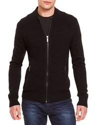 Kenneth Cole Faux Leather Accented Knit Zip Front Black