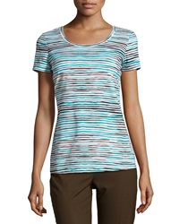 Lafayette 148 New York Striped Scoop Neck Tee Splash Multi