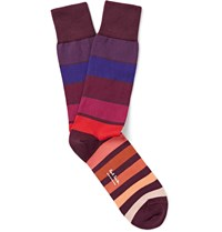 Paul Smith Striped Stretch Cotton Blend Socks Purple