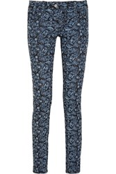 Etoile Isabel Marant Floral Embroidered Mid Rise Skinny Jeans Blue