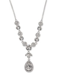 Givenchy Multi Crystal Lariat Necklace Silver