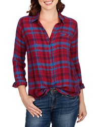 Lucky Brand Checkered Long Sleeve Shirt Burgundy