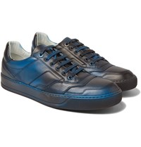 Lanvin Spray Painted Leather Sneakers Blue
