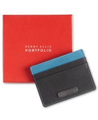 Perry Ellis Portfolio Gift Men's Fabric Card Case Black W Teal