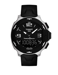 Tissot Mens T Race Touch Silvertone And Silicone Watch Black