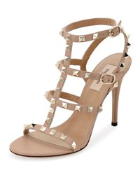 Valentino Rockstud Leather T Strap 105Mm Sandal Powder Poudre