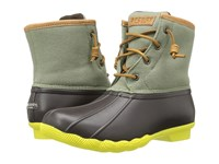 Sperry Saltwater Hemp Canvas Brown Olive Women's Rain Boots