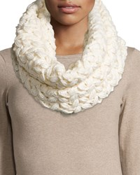 Neiman Marcus Floral Chunky Knit Infinity Scarf Ivory