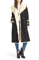 Free People Women's Embroidered Coat With Faux Fur Lining