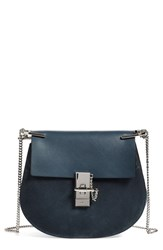 Chloe 'Drew' Suede And Leather Crossbody Bag Blue Blue Silver