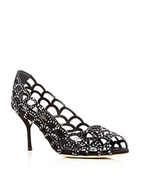 Sergio Rossi Swarovski Crystal Vague Cutout Peep Toe Pumps Black