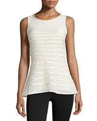 Halston Heritage Charmeuse Striped Tank Bone Ivory