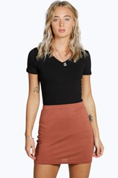 Boohoo Bodycon Mini Skirt Chestnut