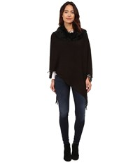 Steve Madden Solid Rib Poncho W Shag Fur Collar Black Women's Sweater