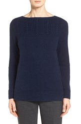 Women's Nordstrom Collection Placed Cable Cashmere Sweater Navy Medieval