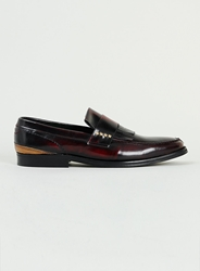 Topman Noose And Monkey Burgundy Leather Stud Loafers Red
