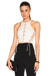 David Koma Front And Side Lacing Panels Crop Top In White