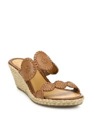 Jack Rogers Shelby Leather Espadrille Wedge Sandals Cognac