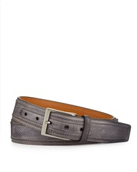 Magnanni Perforated Leather Belt Gray Men's