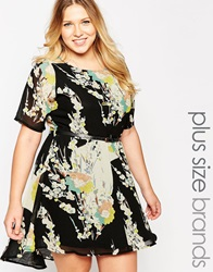 Yumi Plus Size Skater Dress With Belt In Floral Print Blackmulti