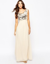 Little Mistress Chiffon Maxi Dress With Bardot Neck And Sequin Front Creamgold