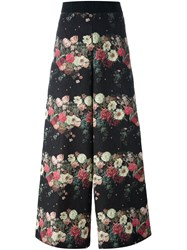 Antonio Marras Floral Cloque Palazzo Pants Black