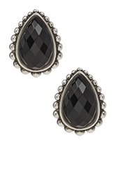 Lagos Maya Sterling Silver Onyx Doublet Teardrop Earrings Metallic