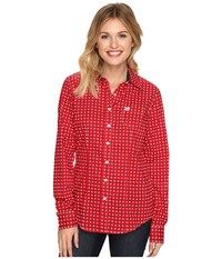 Cinch Cotton Plain Weave W Print Red Women's Clothing