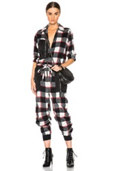 3.1 Phillip Lim Flight Jumpsuit In Black Checkered And Plaid Red