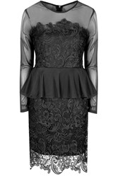 Alice And You Lace Overlayer Peplum Dress Black