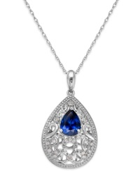 Macy's Sapphire 1 1 4 Ct. T.W. And Diamond Accent Pendant Necklace In Sterling Silver
